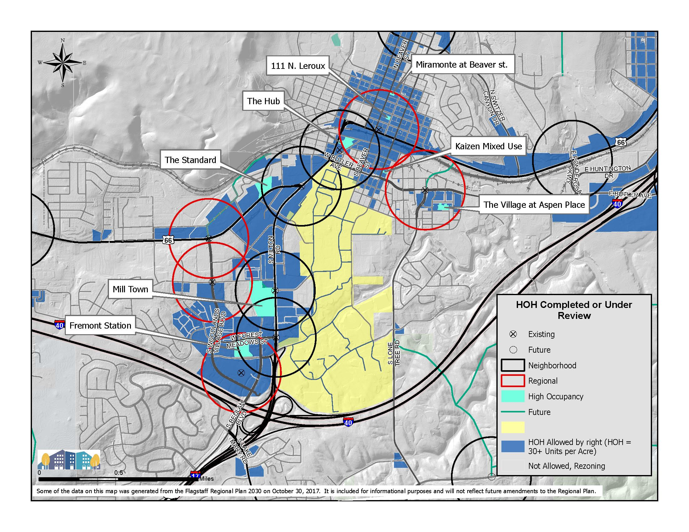 Map of Proposed and Constructed High Occupancy Housing projects