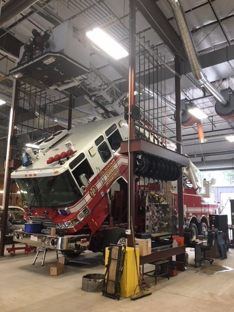 Fire Engine in the Shop