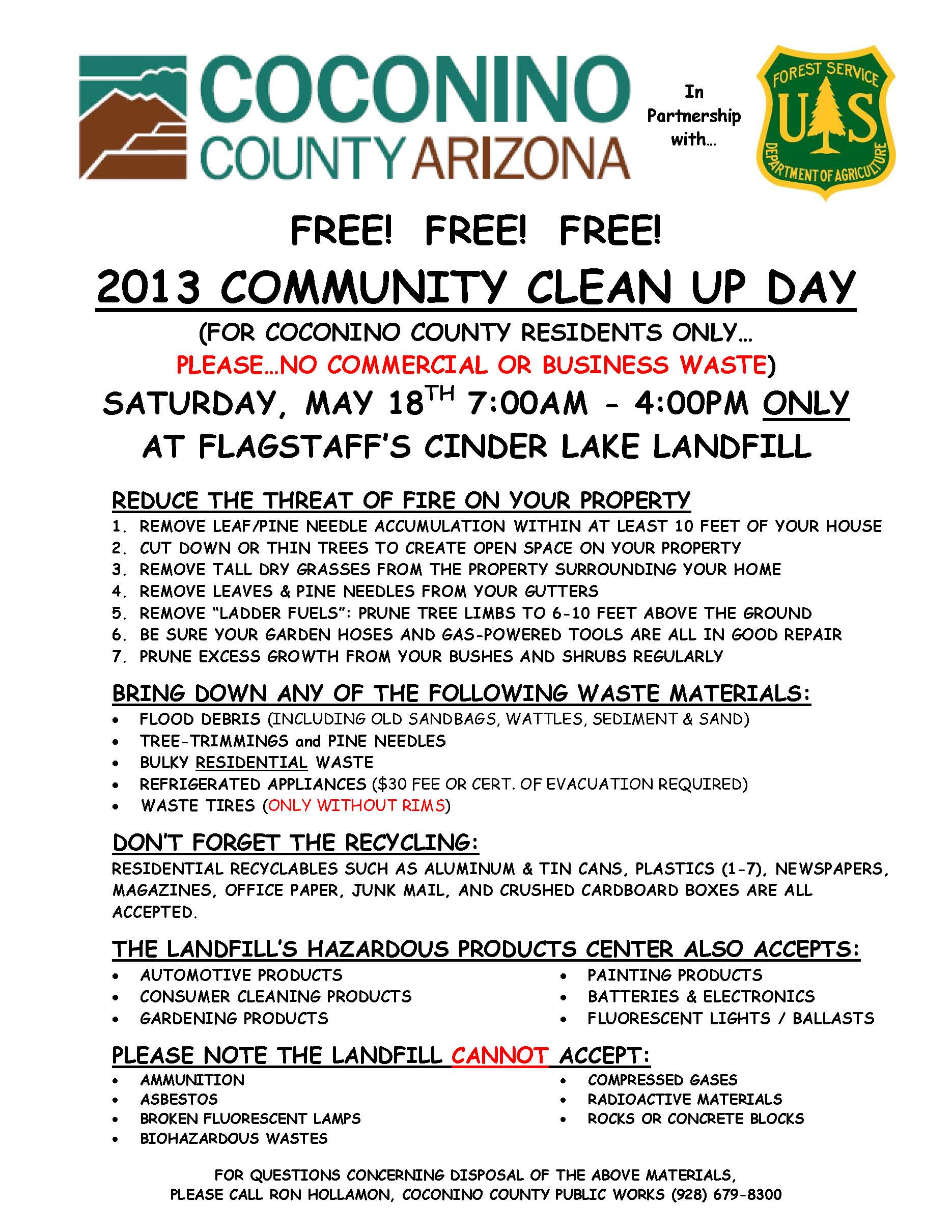 2013 Community Clean-Up Day for County Residents