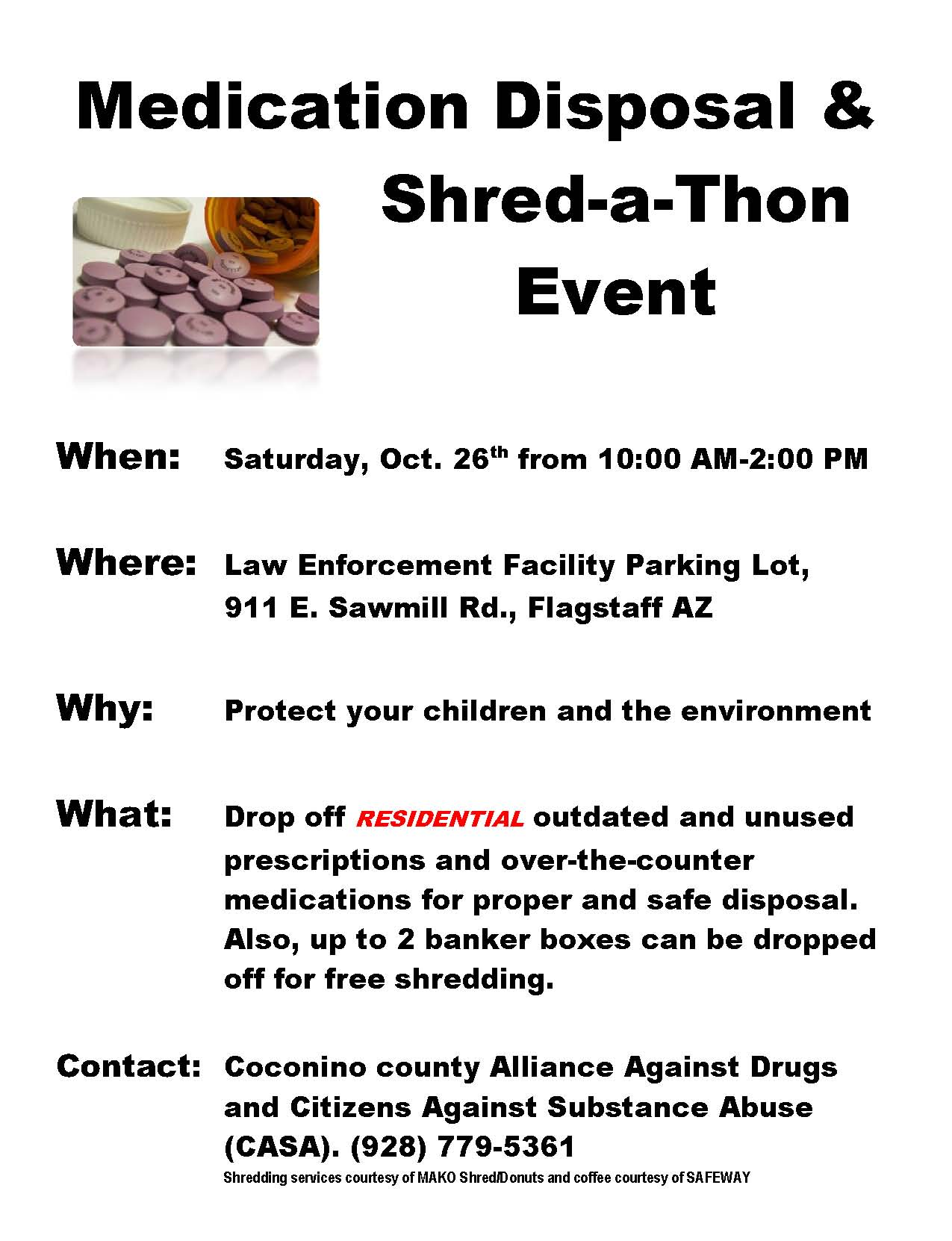 2013 Fall Medication Collection and Shred-a-Thon Event